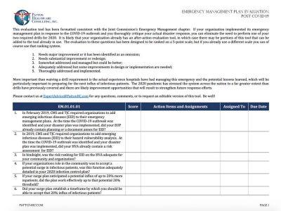 Screenshot of PHC Evaluation Tool worksheet
