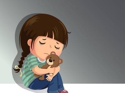 Illustration of a young girl holding a teddy bear and crying.