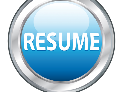 """Silver and Blue 3d circle with the word """"Resume"""""""