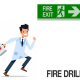 Cartoon drawing of Dr, holding first aid kit and isrunning toward Fire Exit for a fire drill.