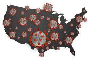 coronavirus COVID-19 COVID_19 microscopic virus coronavirus disease 3d illustration infected USA united states of america map country