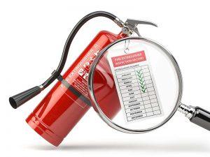 Fire extinguisher checking concept.Fire extinguisher 3d illustration