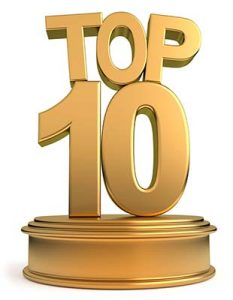 3D Illustration Top Ten as in Gold and as a Cut Out